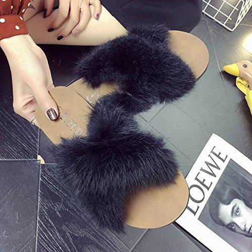 transversales Cool y Femenino Exterior de Cross Negro Zapatillas Plano de Antideslizante Calzado fankou Moda Fondo Verano 38 Expuestos TBw5xE6xqv