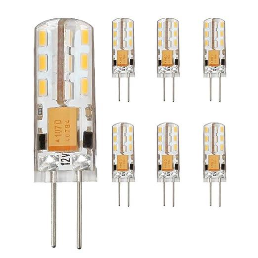 6 x G4 LED Bombillas, 1.5W AC/DC 12V Blanco cálido 2800k /