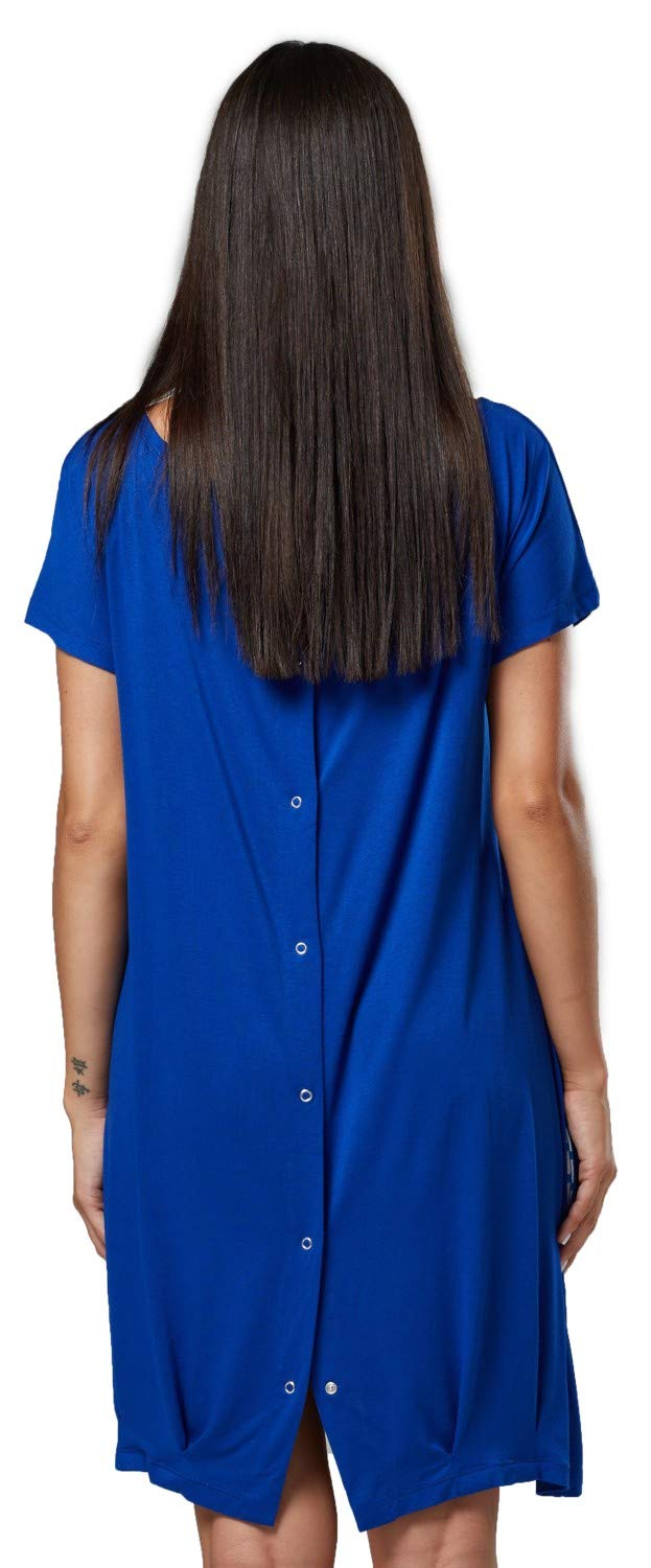 Happy Mama. Womens Labor Delivery Hospital Gown Breastfeeding Maternity. 097p (Royal Blue, US 8/10, M)