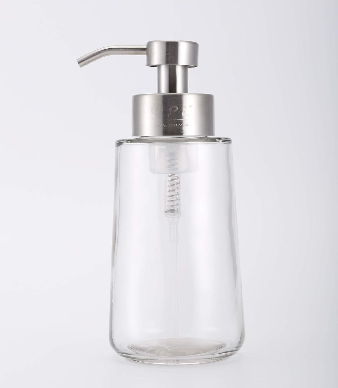 Bathroom Kitchen Clear Glasses Foam Soap Dispenser Pump 16.9 Oz Counter top Lotion 500ml Liquid Bottle Hand Wash for Home Office (Silver)