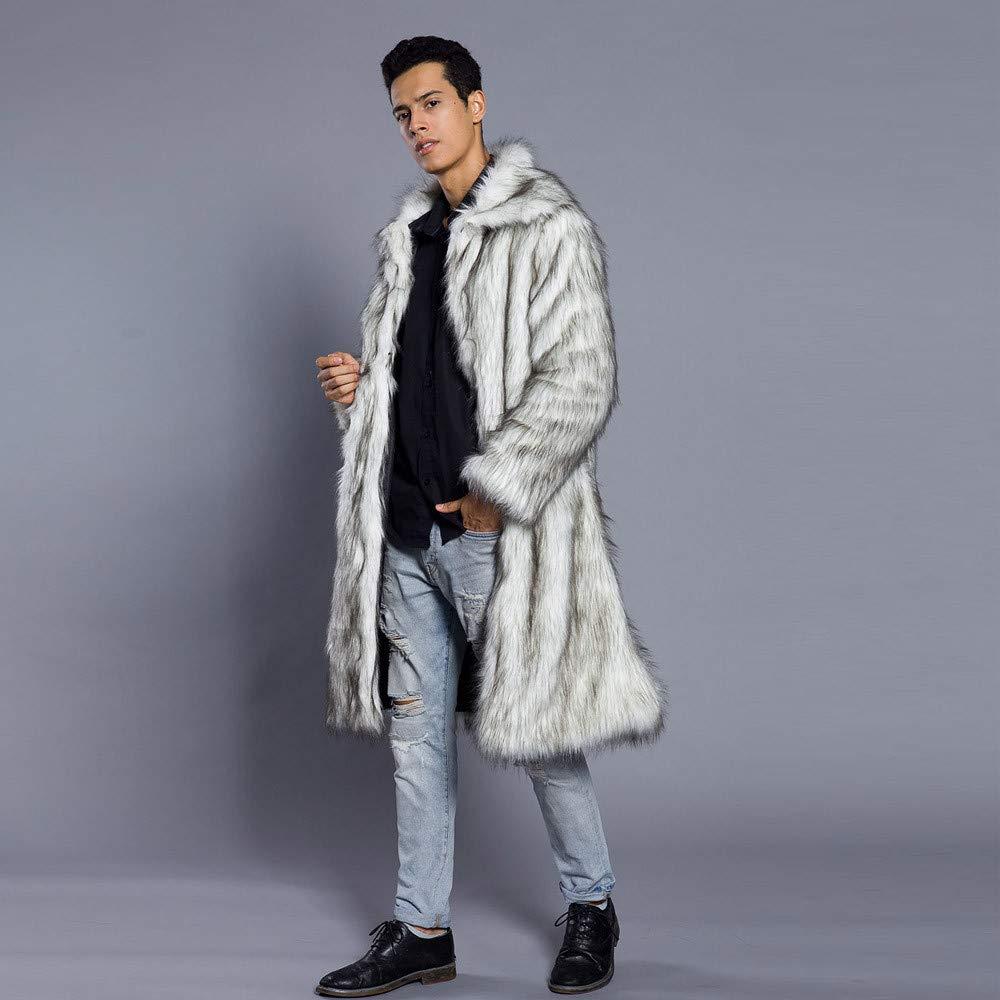 Amazon.com: HHei_K Mens Autumn Winter Warm Thick Lapel Artificial Fur Solid Coat Jacket Faux Fur Cardigans Parka Outwear: Clothing