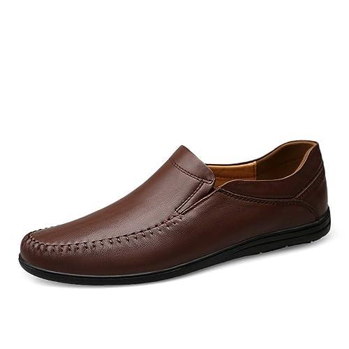 Simple Moda Mocasines Hombre Artesanal Negocios Conducción Caminar Zapatos Marrón Oscuro 36 EU