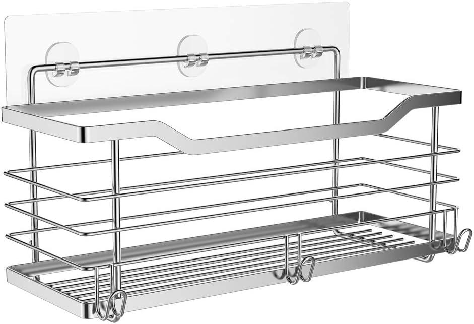 Oriware Adhesivo Estantes Cesta para Ducha Estanteria Organizador Baño SUS304 Acero Inoxidable Sin Taladro - 31 x 11.5 x 12 cm