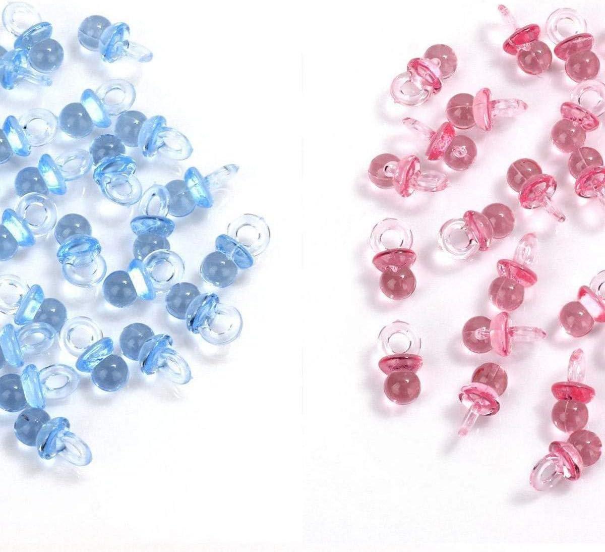 MINGZE 100 piezas de acrílico plástico lindo azul y rosa pequeños chupetes para decoraciones de la ducha de bebé, mesa de dispersión, favores de fiesta, juegos y actividades