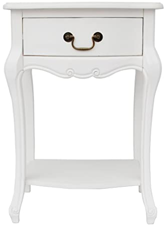 Juliette shabby chic antique white bedside table french bedside juliette shabby chic antique white bedside table french bedside cabinet with drawer and shelf fully assembled amazon kitchen home watchthetrailerfo