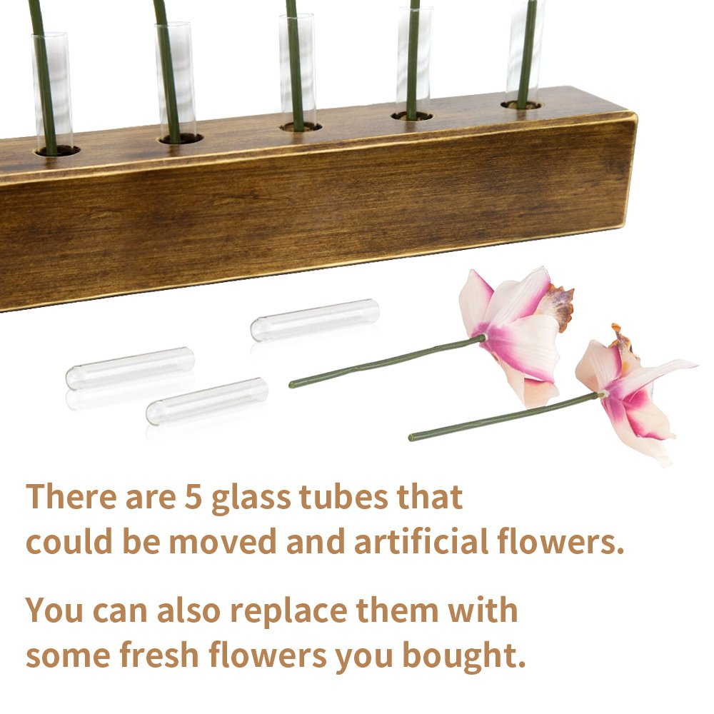 WOOD MEETS COLOR Table Vase Set, Home Decor Display with tubes and Artificial Flowers by WOOD MEETS COLOR (Image #4)