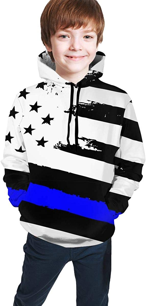 Blue Thin Line USA Flag Teens Hoodie Sweater Pullover Drawstring Pocket Novelty Sports Shirt for Student