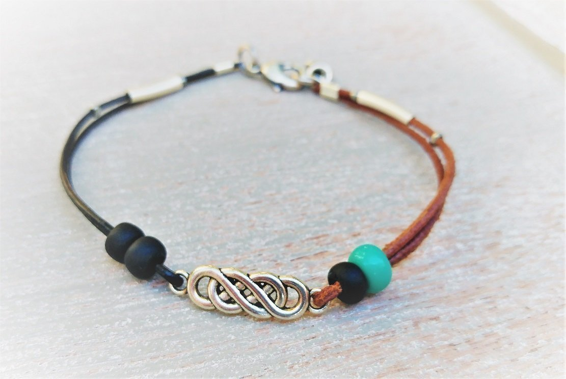 Infinity Anklet For Women With Celtic Knot Turquoise And Black