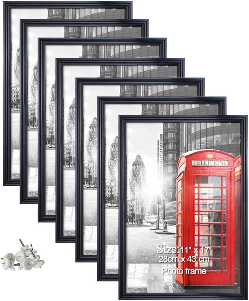 Calenzana 7 Pack 11x17 Poster Picture Frames Black Photo Frame 11 x 17 Set for Wall Hanging