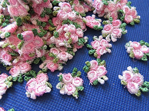 (YYCRAFT Pack of 80 Embroidery Venise Lace Rose Flower Applique/Dress/Trim/sewing-Pink)