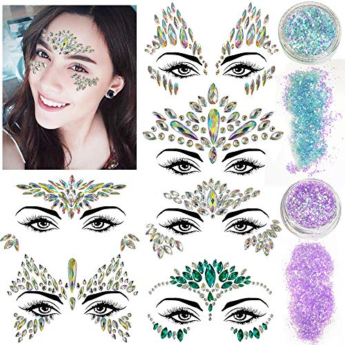 6 Sets Mermaid Face Jewels,Rhinestone Face Gems Glitter Face Stickers Face Jewels festival Stick On with 2 Pack Face Body Glitter
