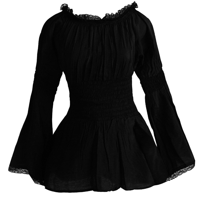 Black Lace Cotton Women's Peasant Shirt Blouse Retro Vintage Design Semi Sheer 2BL114BLK