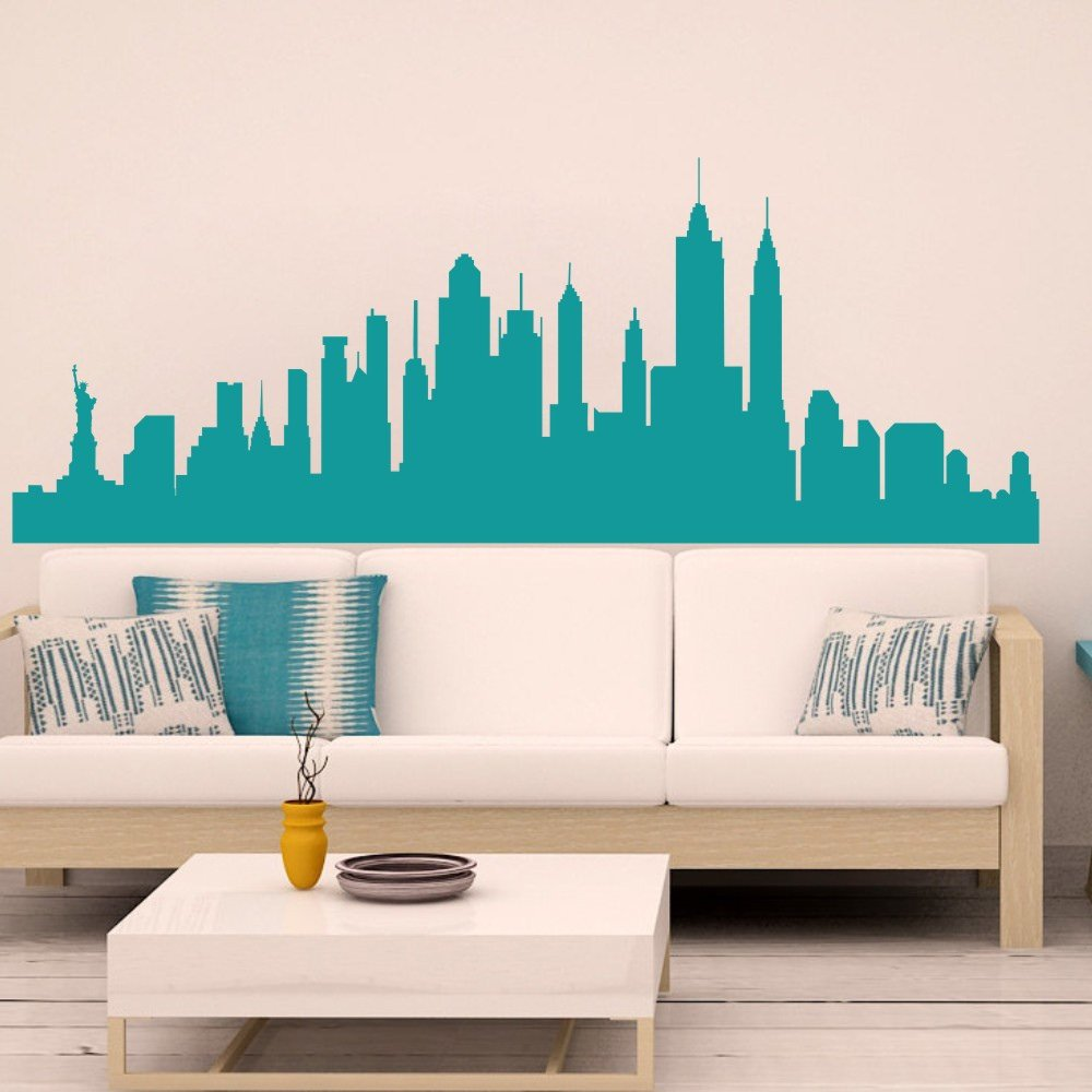 Amazon com mairgwall new york city skyline silhouette wall decal custom vinyl art stickers largeteal home kitchen