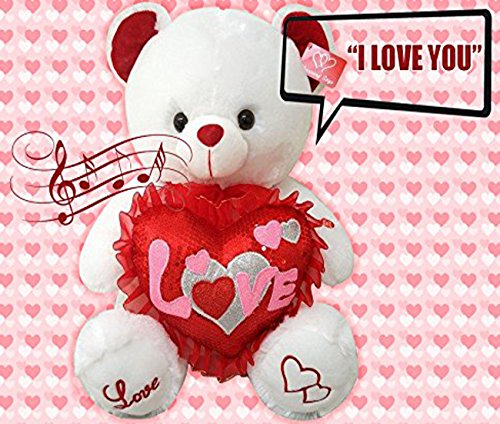Best Valentines Teddy Bear Gift Musical I Love You 13 Inches tall You hear Kissing Sound & then Bear Says I Love You When Paw Is Pressed Valentines Day Gifts for Her, Him, Boyfriend, or Girlfriend (Valentine Chocolate Gifts For Him)