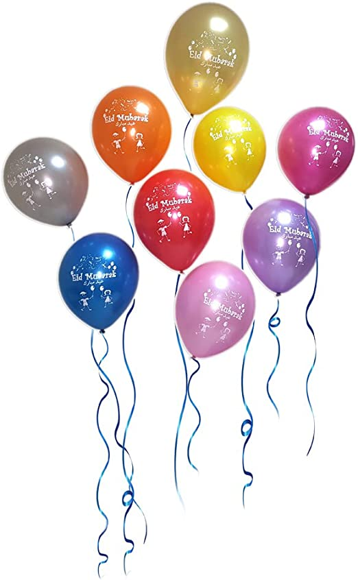 Amazon Com Eid Mubarak Latex Balloons Assorted Metallic Colors Pack Of 20 Toys Games