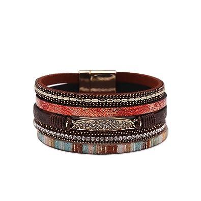 6bf0fb1ed79 Exweup Women's Leather Cuff Bracelet Boho Wrap Bracelet Druzy Mulitilayer Wristband  Gorgeous Wrap Bracelet with Magnetic