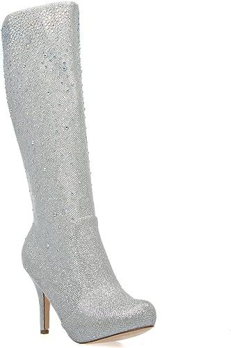 Lauren Lorraine Layzer Silver Slouchy Knee High Rhinestone Pointed Toe Stiletto
