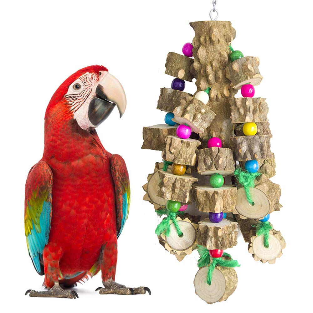 PINCHUANG Large Bird Parrot Chewing Toys - Natural Wooden Parakeet Toys Wooden Blocks Bird Tearing Toys Cockatiel Toys for Macaws cokatoos, African Grey and a Variety of Large Amazon Parrots by PINCHUANG