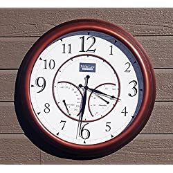 24 Large Outdoor Wall Clock Waterproof with Temperature and Humidity - Copper