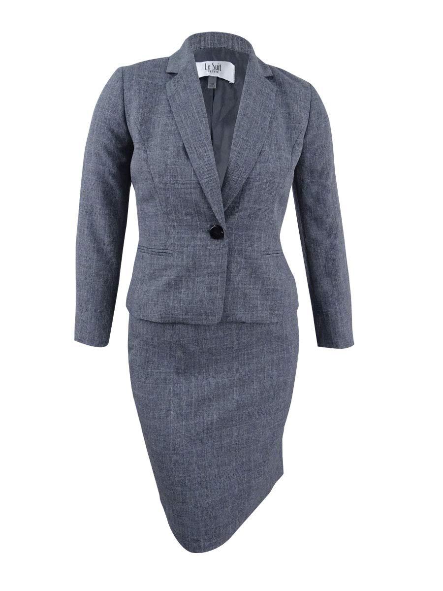 Le Suit Women's Petite Size Tonal Plaid 1 Button Skirt Suit, Grey, 2P