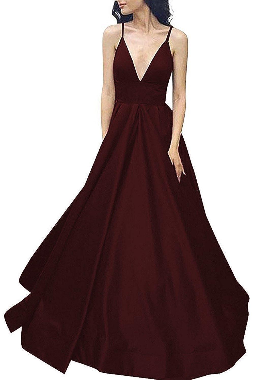 Brown Yiweir Women's Prom Dresses 2018 Long ALine High Waist Satin Formal Gowns YP028