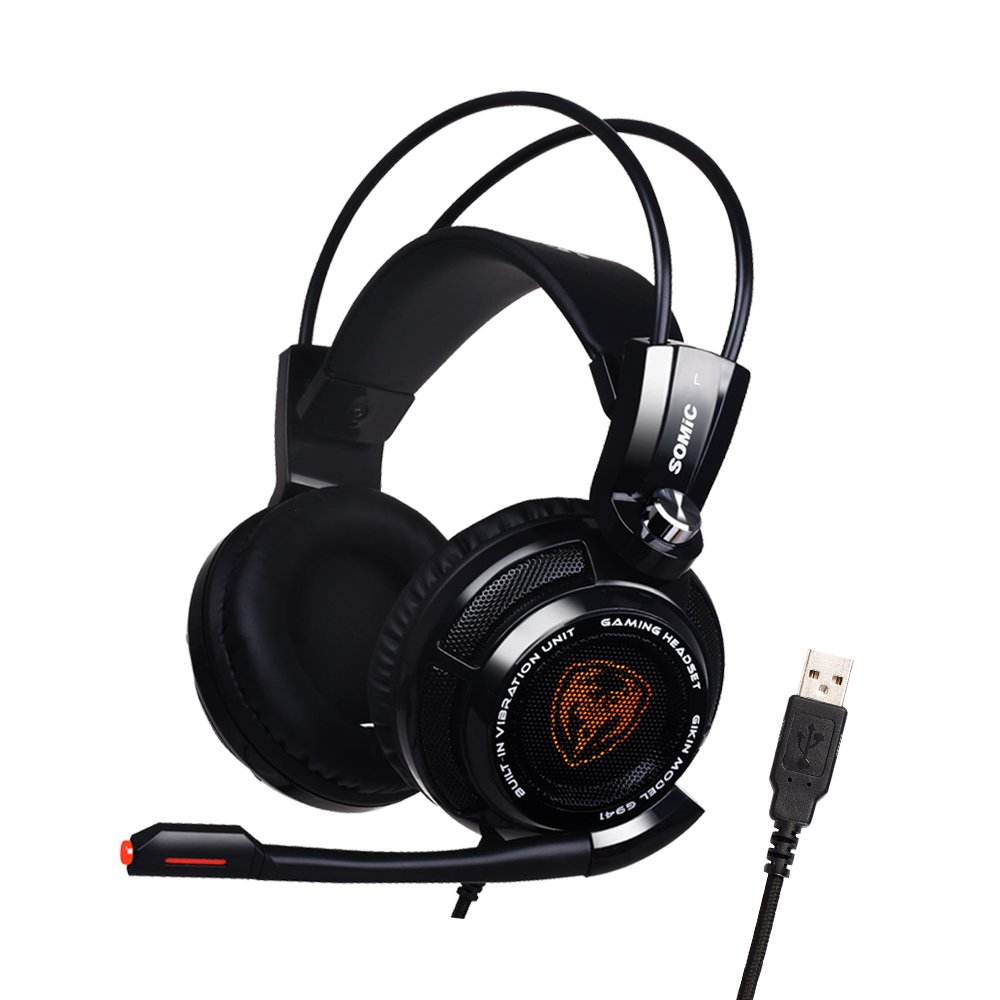 SOMIC G941 Gaming Headset For PS4, PC and Laptop, 7.1 Virtual Surround Sound USB Lightweight Over Ear Headphone with Mic,Volume Control,LED(Black)