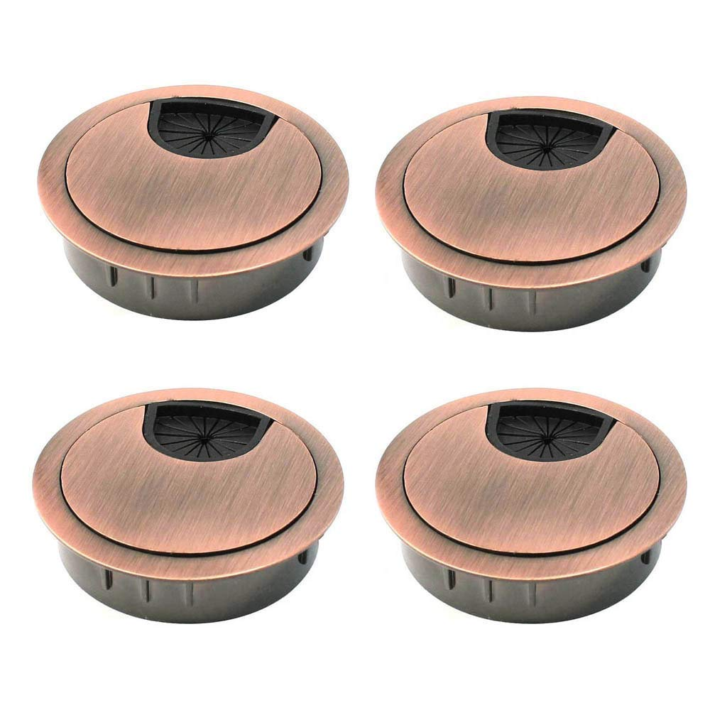 Bestgle 4 Pack Desk Grommet Kit Zinc Alloy Computer Desktop Grommets Wire Organizers Table Cable Cord Round Hole Cover for Home and Office, Fits 2-Inch Hole (Red Bronze)