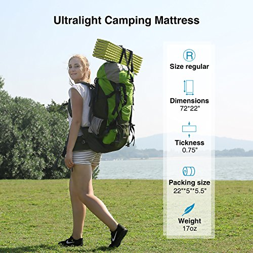 """REDCAMP Pad, 22"""" Mat for Hiking 72""""x22""""x0.75"""""""