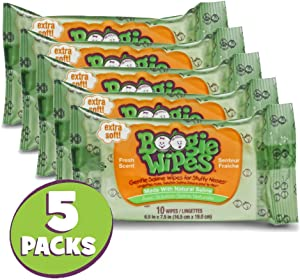 Hand, Face and Nose Wet Wipes for Kids and Baby, Boogie Wipes, Alcohol Free, Travel Size, Fresh Scent, Wipes Away Dirt and Germs, Soft Natural Saline Tissue, 10 Count, Pack of 5