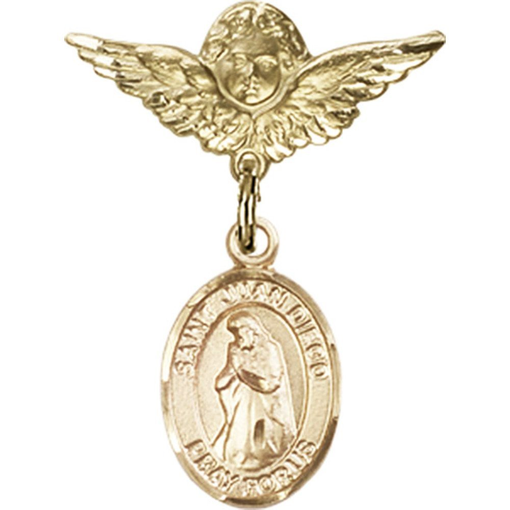 Gold Filled Baby Badge with St. Juan Diego Charm and Angel w/Wings Badge Pin 1 X 3/4 inches