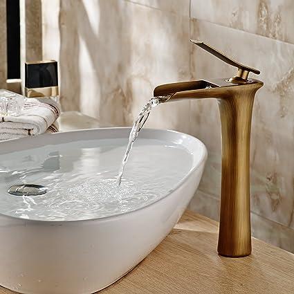 Hiendure Single Handle One Hole Soild Brass Bathroom Waterfall