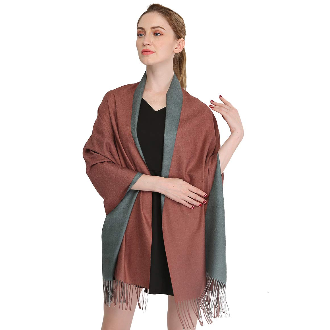 10  Longwu Cashmere Wrap Shawl Stole for Women Winter Extra Large(79  X 28 ) Men Solid Lambswool Pashmina Scarf