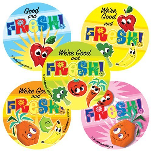 SmileMakers Fresh Fruit & Vegetable Stickers - 100 per Pack