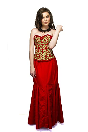 8b8a07527f CorsetsNmore Red Velvet Green Embroidery Goth Burlesque Overbust Top Long  Skirt Corset Dress  Amazon.co.uk  Clothing