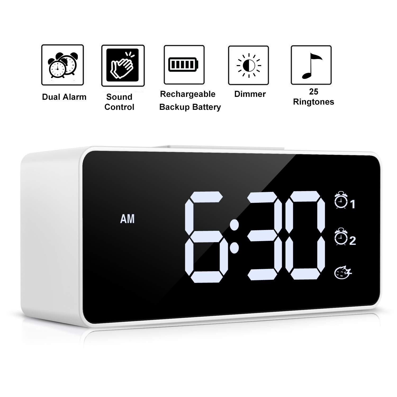 Digital Alarm Clock,Sound Control,Super Easy to Use,Dual Alarms,12/24 H,Snooze,25 Alarm Ringtones,Volume&Brightness Adjustable,Rechargeable Backup ...