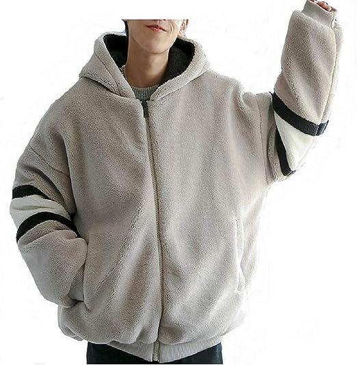 Pugrwei ボアジャケット メンズ ボアブルゾン フリースジャケット メンズコート フード付き バイカラー もこもこ 防寒 暖かい ボアコート アウター 秋冬 綿服 カジュアル ゆったり オーバーサイズ 秋冬用 韓国風 おしゃれ