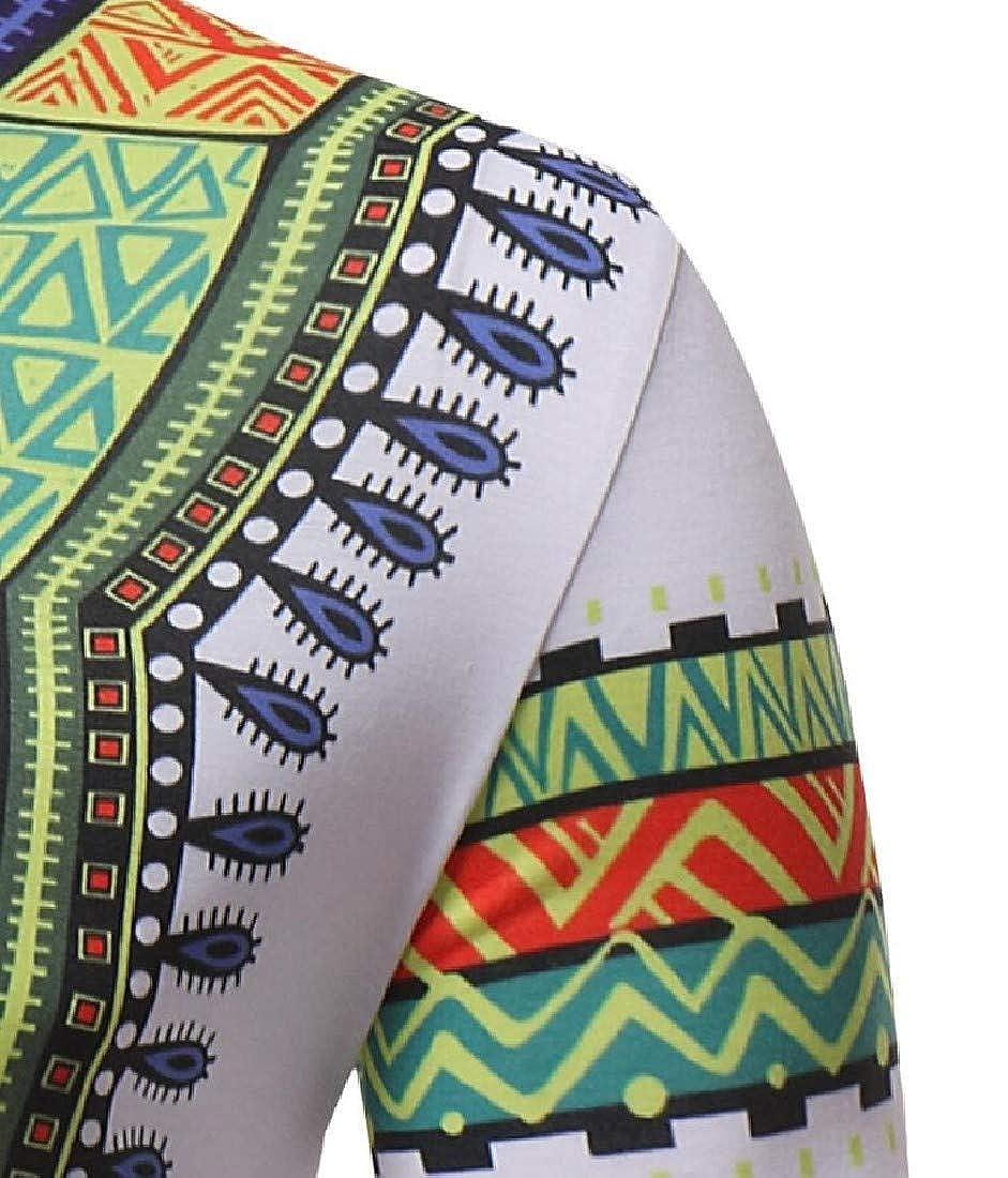 RDHOPE-Men Short-Sleeve Crew Neck Casual Ethinic Style Tunic Tops T-Shirt
