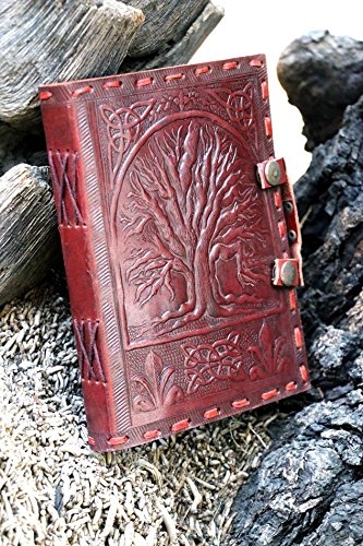 QualityArt Handmade Leather Journal Tree Of Life Folder Snap Button Diary Sketchbook Travel Blank Book 8×6 Inches Brown