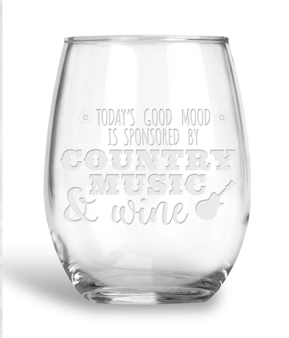 BadBananas Today's Good Mood Is Sponsored By - Country Music and Wine - 21 oz Large Stemless Wine Glass with Etched Coaster - Gift