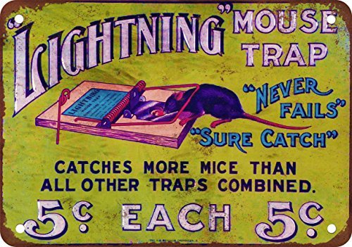 Lightning Mouse Traps Vintage Look Reproduction Metal Tin Sign 12X18 Inches