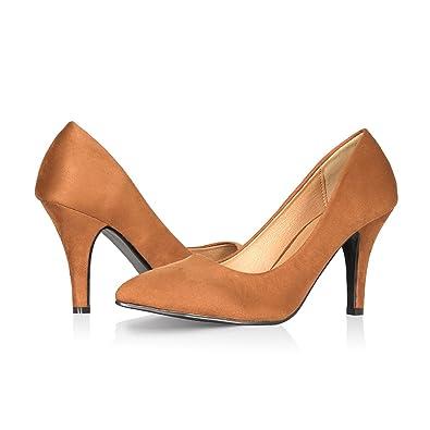 e35b70cacb0 Yeviavy High Heels - Women s Pumps Stiletto Pointy Toed Dress Fashion Shoes  JennaNs Dark Tan Suede