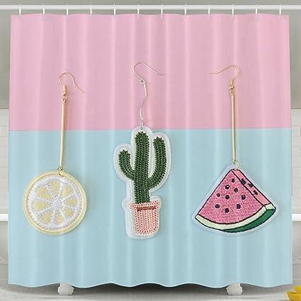 Cute Cactus And Lemon Watermelon Bathroom Shower Curtain Waterproof Bath Decorations Decor Sets With