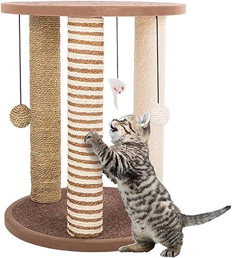 LLQ Árbol para Gatos,Postes rascadores para Gatos: Gato Adulto y árbol de Gatito, 3 Postes rascadores Grandes, área de Juego con Base alfombrada y Percha: Amazon.es: Deportes y aire libre