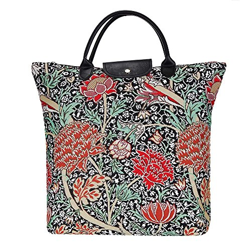 (Signare Re-usable Black Tapestry Reusable Foldaway Shopping Grocery Bag William Morris Floral The Cray (FDAW-CRAY))