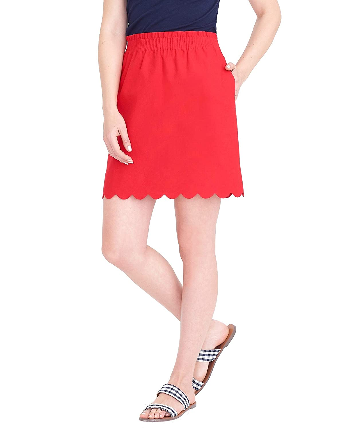33f966dfe5 J.Crew Scalloped Sidewalk Lined Mini Skirt with Pockets at Amazon Women's  Clothing store: