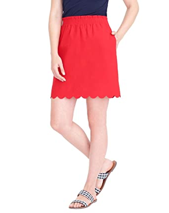 2e29ea0a5a J.Crew Scalloped Sidewalk Lined Mini Skirt with Pockets (Belvedere Red, 0)