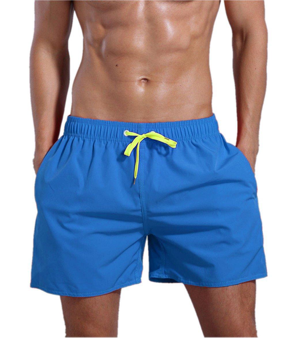 ORANSSI Men's Quick Dry Swim Trunks Bathing Suit Beach Shorts, Blue, Large, 38-40 Waist