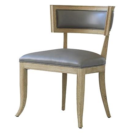 Minnelli Hollywood Regency Grey Leather Dining Chair