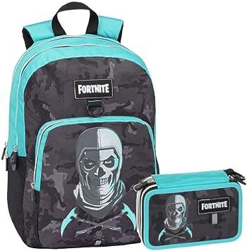 Schoolpack - Mochila Escolar Compatible con Fortnite Skull Trooper Azul Redondo organizado + Estuche de 3 Cremalleras Completo: Amazon.es: Equipaje
