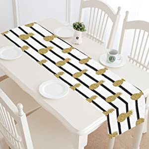 InterestPrint Gold (Not Real) Glitter Pineapples Fruit Black White Stripes Table Runner Cotton Linen Cloth Placemat for Office Kitchen Dining Wedding Party Banquet 16 x 72 Inches